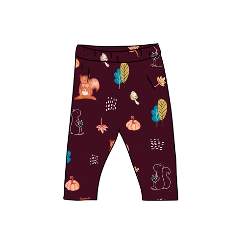 Burgundy Squirrels Fitted Leggings