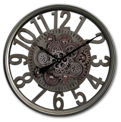 Mansion - Gear Clock Disc Open 60x8cm Glass Cover