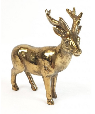 Mansion - Copper Standing deer big antlers 13.5x5x14.5cm
