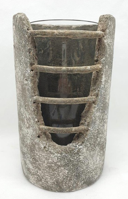 Mansion - Concrete Pot with Bars Glass inside