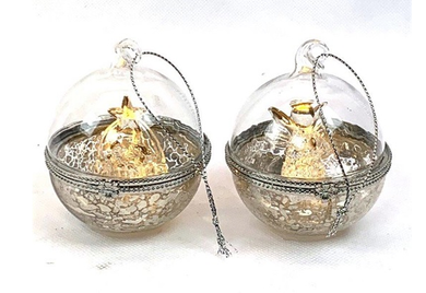 Mansion - Glass LED Ball With nativity inside 6 cm