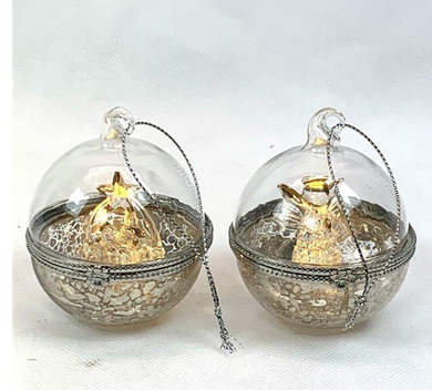 Mansion - Glass LED Ball With nativity inside 8 cm