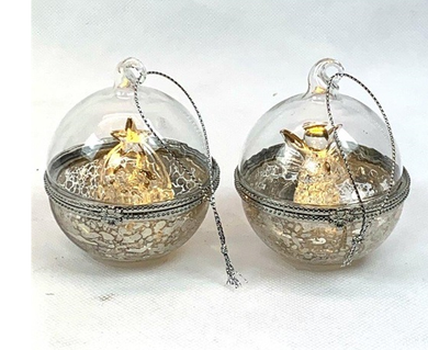 Mansion - Glass LED Ball With nativity inside 10 cm