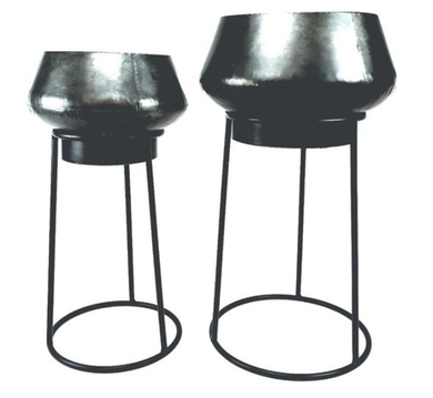 Mansion - Set of 2 descending Plantpots in Holder
