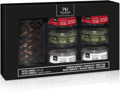 WoodWick Deluxe Gift Set Six Petite Candles & Holder Autumn/Winter