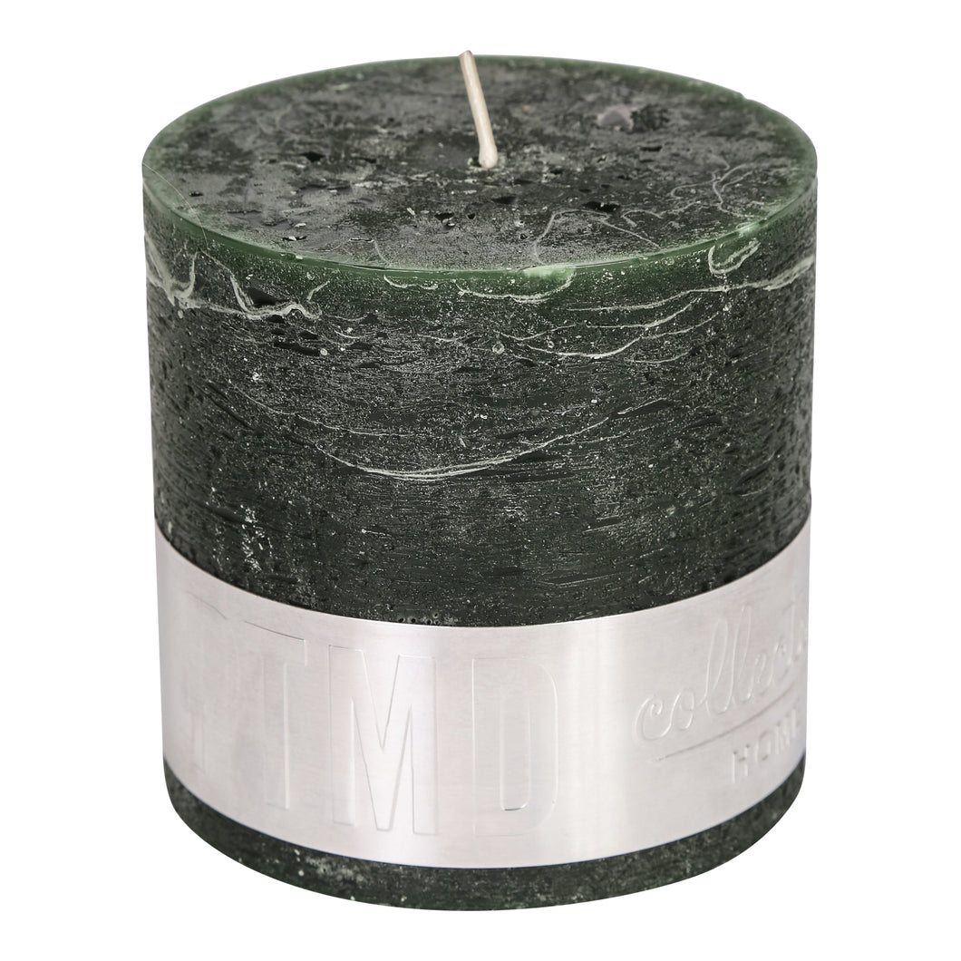PTMD - Rustic dark green Block candle 10x10