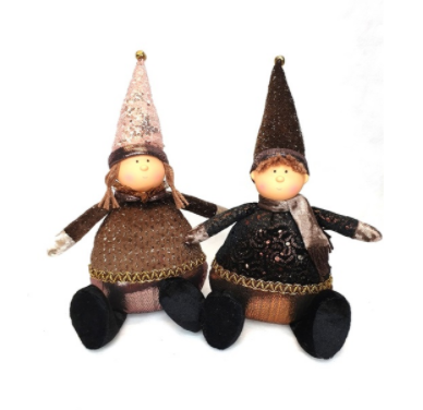 Mansion - Sitting boy & girl Brown Color 15*12*24cm