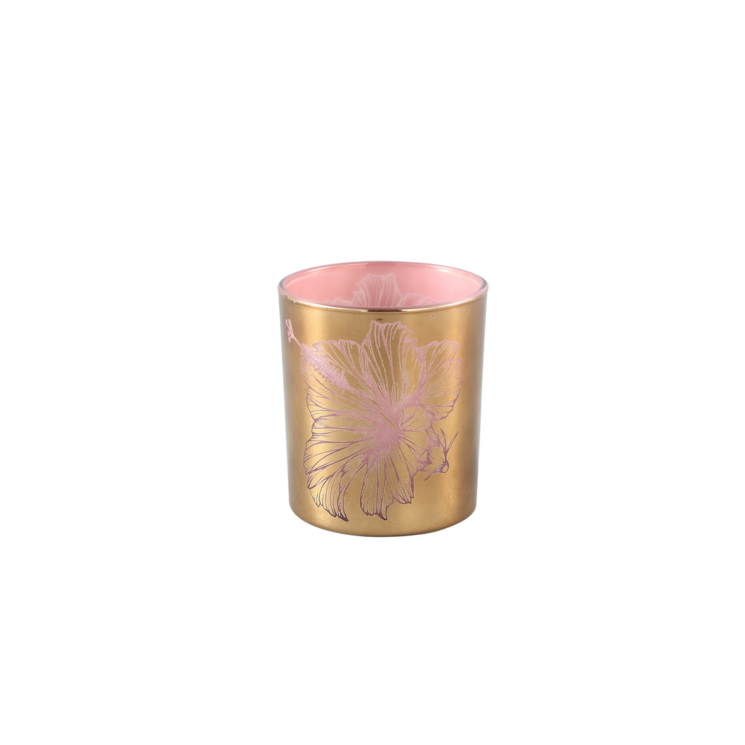 PTMD - Melody Gold glass tealight pink inside flower L
