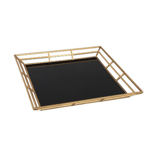 PTMD - Caylen gold metal black glass tray square