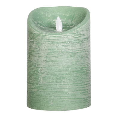 PTMD - LED light candle Rustic green moveable flame 15x10