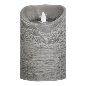 PTMD - LED light candle Rustic grey moveable flame 15x10