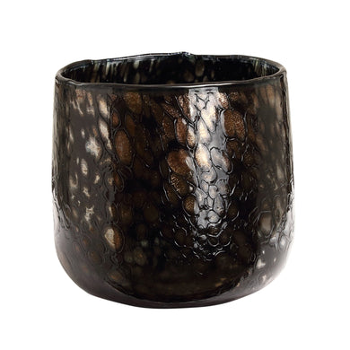 PTMD - Tortoise Black with gold glass tealight round S