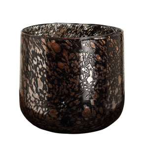 PTMD - Tortoise Black with gold glass tealight round L