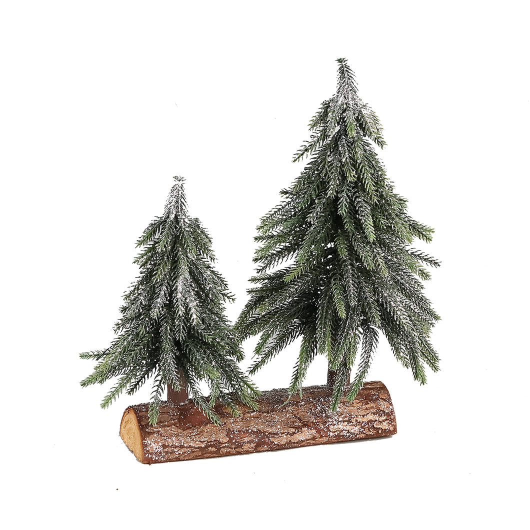 PTMD - Christmas Izzy green PE glitter 2 trees wood base