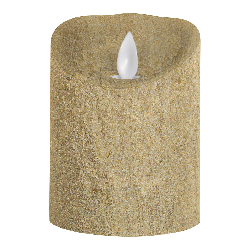 PTMD - LED Light Candle rustic gold moveable flame S