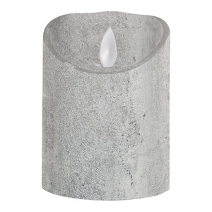 PTMD - LED Light Candle rustic silver moveable flame S