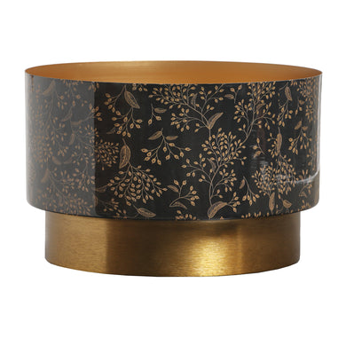 PTMD - Elora Gold iron planter enamel leaves print round L