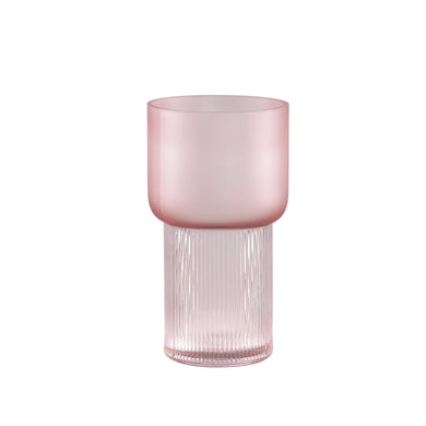 PTMD - Kandis Pink glass vase matt and ribbed round S