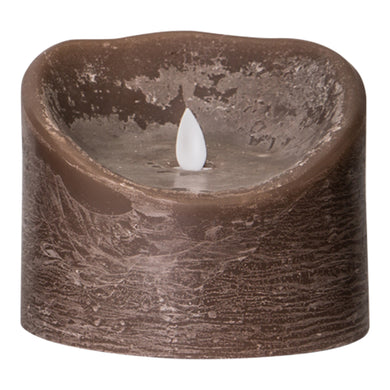 PTMD - LED Light Candle rustic brown moveable flame XL