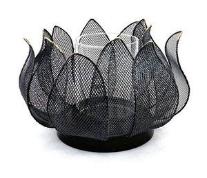 Mansion - Black with gold edge candle holder water lily M