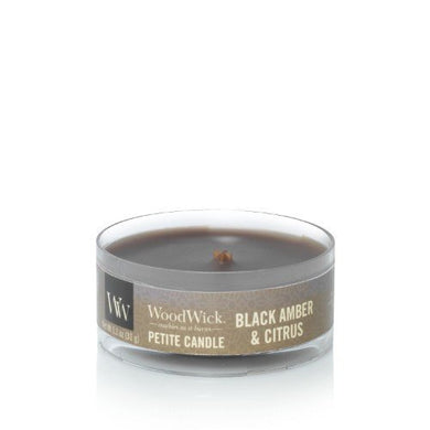 WoodWick - Black Amber & Citrus Petite Candle