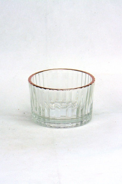 Mansion - Striped Clear Glass Copper Edge