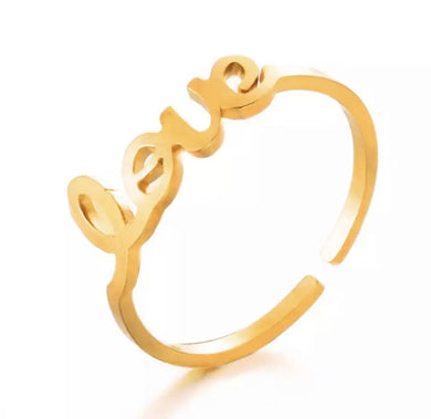 BY SHIR RING LOVE 14K VERGULD EDELSTAAL
