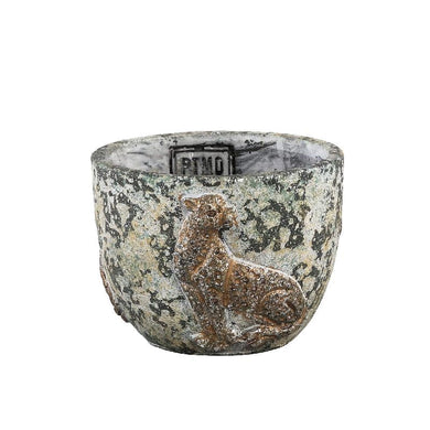 PTMD Norton Grey cement pot tiger round S