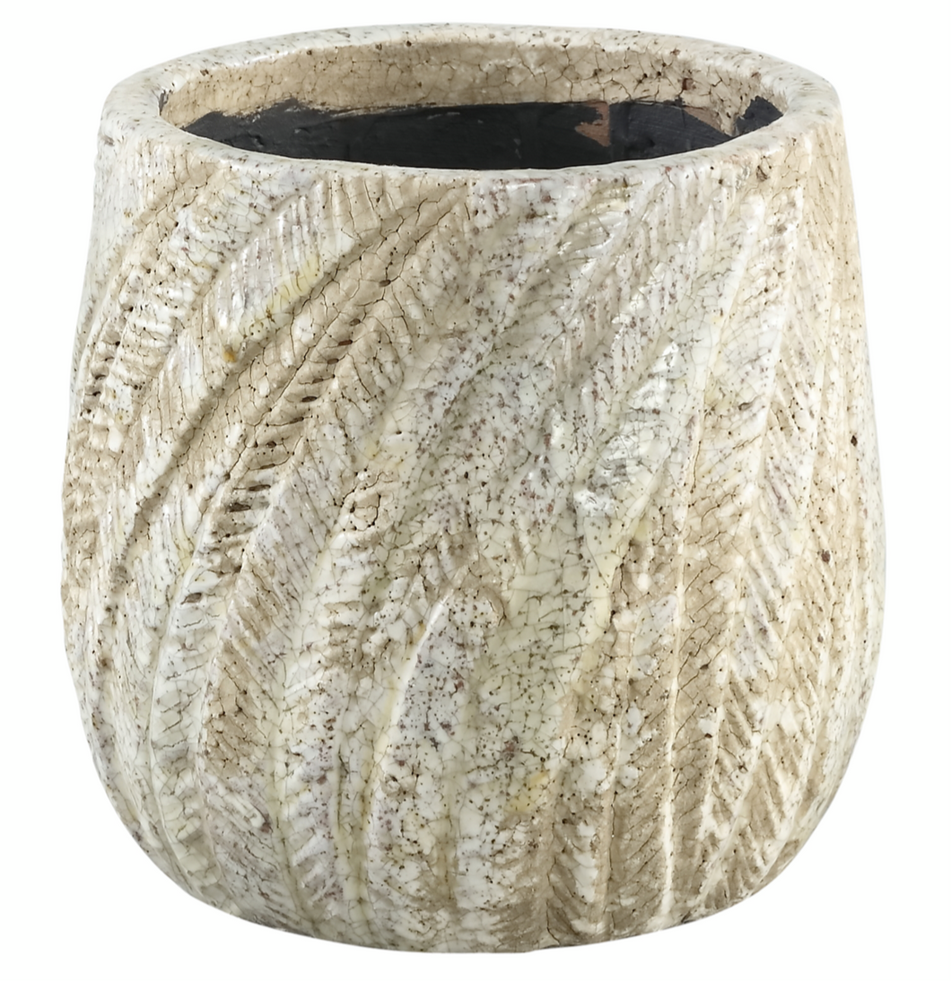 PTMD - Vita cream ceramic palm pot round s