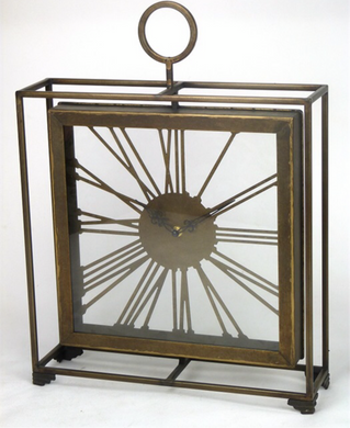 Mansion - Tableclock Messing Roman Bronze Frame 38.5x10x51.5cm