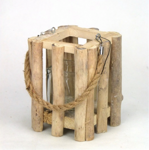 Mansion - WoodSlice Square Lantern 14*14*18cm