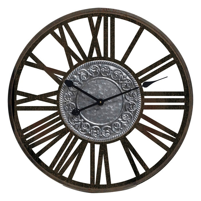 Mansion - Black Wooden Wall Clock Metal Insigne Dia60*4.5cm