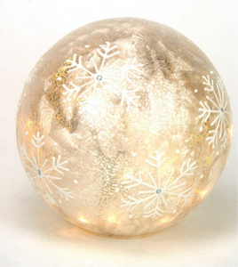 Mansion - Standing Silver Led Ball Snowflake 12cm