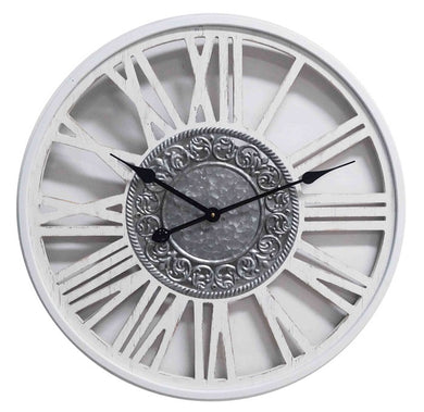 Mansion - White Wooden Wall Clock Metal Insigne Dia60*4.5cm