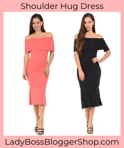 Off The Shoulder Knee Length Bodycon