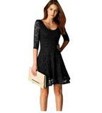Women's O-Neck Lace 3/4 Sleeve Mid Thigh A-Line Dress Black
