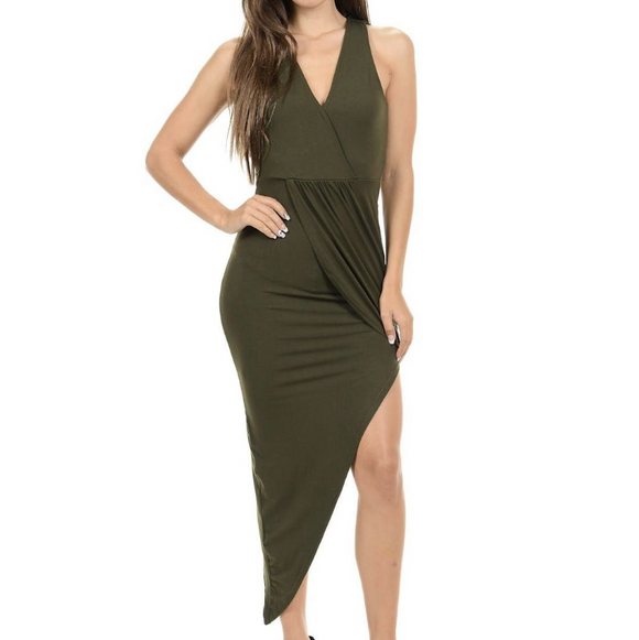 Women's V-Neck Sleeveless Blackless Halter Side Slit Asymmetrical Mid Thigh Dress Green