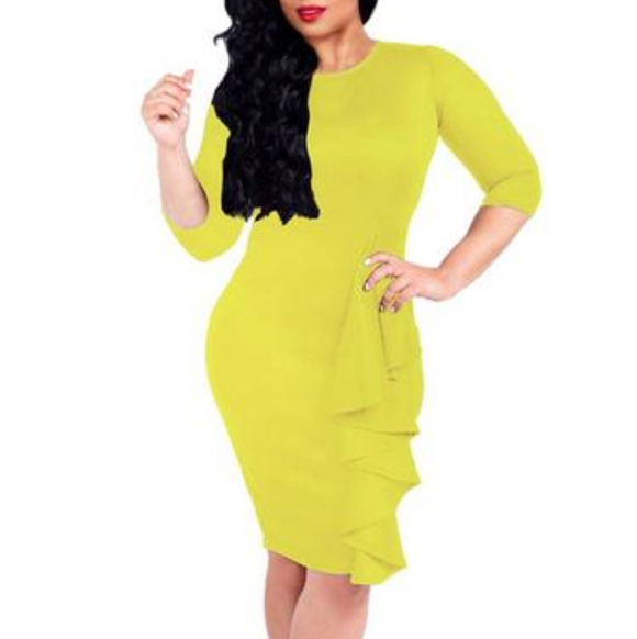 Women's 3/4 Sleeve Ruffle Front BodyCon Knee Length Dress Yellow