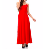 Women's Sweetheart Neck Spaghetti Strap Backless Maxi Dress Red