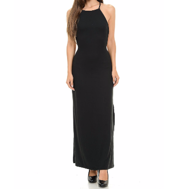 Women's Halter Top Star Shaped Backless Maxi Dress Black