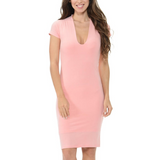 Women's Plunging O-Neck Short Sleeves Bodycon Knee Length Dress Pink