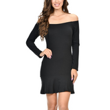 Women's Off The Shoulder Long Sleeve Solid Color Mid Thigh Dress Black