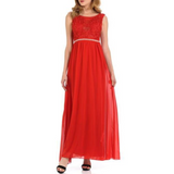 Women's Lace Semi Transparent Neckline Sleeveless Chiffon Maxi Dress Red