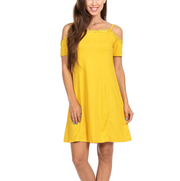 Women's Off The Shoulder Spaghetti Strap Loose Fitting Mid Thigh Dress Yellow