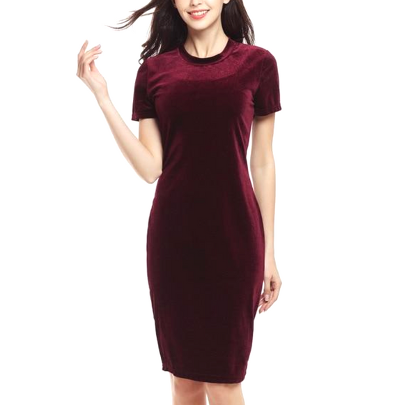 Women's Velvet O-Neck Bodycon Knee Length Dress Red