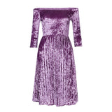 Women's Off The Shoulder Velvet 3/4 Sleeve Mid Calf Length Dress Purple