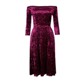 Women's Off The Shoulder Velvet 3/4 Sleeve Mid Calf Length Dress Red