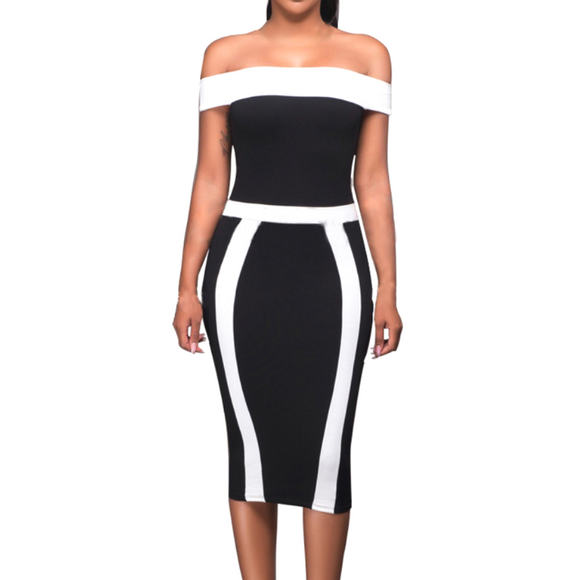 Women's Off The Shoulder Bandage Bodycon Pencil Knee Length Dress Black White
