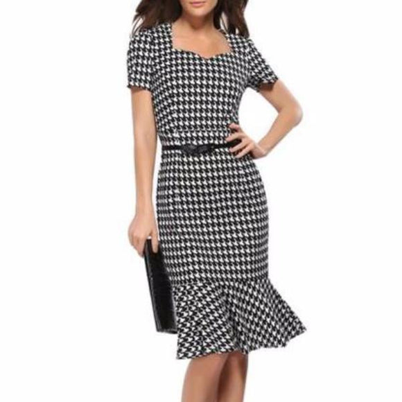 Women's Plaid Sweetheart Neckline Short Sleeve Bodycon Pencil Skirt Flair Dress Black White