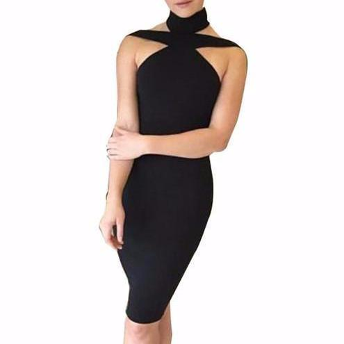 Women's Collar Bandage Sleeveless Halter Bodycon Knee Length Dress Black